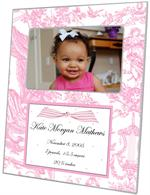 F1601-Pink Toile & Polka Dots Birth Announcement  Personalized Picture  Frame