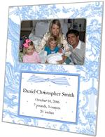 F1602-Blue Toile & Polka Dots Birth Announcement  Personalized Picture Frame