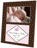 F1603- Pink and Brown Dots Birth Annoucement Personalized Picture  Frame
