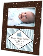 F1605- Blue and Brown Dots Birth Announcement Personalized Picture Frame