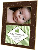 F1606-Brown and Green Dots Birth Annoucement Personalized  Picture Frame