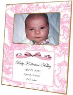 F1607-Pink Toile Birth Announcement  Personalized Picture  Frame