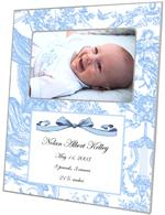 F1608-Blue Toile Birth Announcement  Personalized Picture Frame