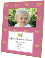 F1609 - Fuschia & Lime Butterfly Birth Announcement Frame