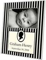 F1614-Mod Baby Boy Silhouette Frame Black & Creme Personalized Picture Frame
