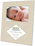 F1617- Tan Dot & Dinghy Birth Announcement Personalized Picture Frame