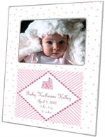 F1624-White and Pink Dots Birth Annoucement Personalized  Picture  Frame
