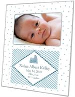 F1625-White and Blue Dots Birth Annoucement Personalized  Picture  Frame