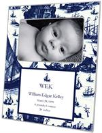 M1628- Navy Boat Toile Birth Announcement Personalized  Melamine Plate/ Platter