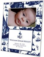 F1628- Navy Boat Toile Birth Announcement Personalized Picture Frame