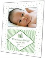 F1645 - Green and White Bassinet Birth Announcement Picture Frame