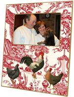 F288- Roosters on Red Toile Plain Picture Frame