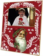 F405-Santa Face on Red Provencial Picture Frame