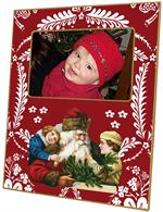 F407-Santa with Children on Red Provencial Picture Frame