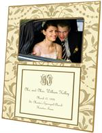 T451-I - Creme and Gold Damask with Inset Wedding Lucite Tray