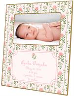 F631-I- Rose Stripe Birth Announcement Picture Frame with Inset