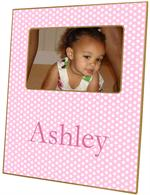 F801-Pink Polka Dot Personalized Picture Frame