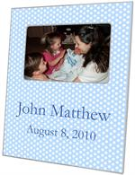 F802-Blue Polka Dot Personalized Picture Frame