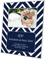F8040-I- Navy Chevron Grande Personalized Picture Frame