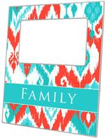 F8414 - Coral and Turquoise Ikat Picture Frame
