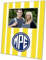 F8419 - Yellow Stripe with Navy Monogram  Picture Frame