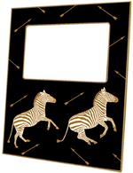 F8493 - Gold Zebra Trot on Black Picture Frame