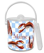 IB1401-Lobsters on Gingham Personalized  Ice Bucket