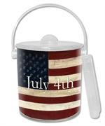 IB230-American Flag Personalized  Ice Bucket