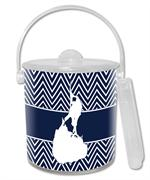 IB2817-Bl- Block Island on Navy Chevron Ice Bucket