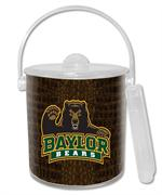 IB3104-Baylor with Bear on Brown Crock Ice Bucket