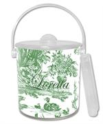 IB445 i - Green Toile with Inset Personalized  Ice Bucket