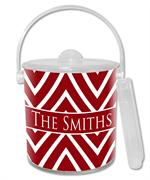 IB8039 - Red Chevron Grande Personalized Ice Bucket