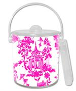 IB8391 - Chinoiserie Pagoda in Pink  Ice Bucket