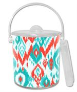 IB8414 - Coral and Turquoise Ikat  Ice Bucket