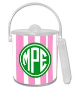IB8420 - Pink Stripe with Green Monogram   Ice Bucket