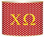 L835 - Chi Omega Red Polka Dot Letter Box