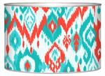 LB8414-Coral and Turquoise Ikat Decoupage Letterbox