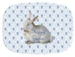 GB1203- Bunny on Blue Provencial Print Personalized Glass Cutting Board