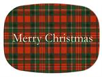 GB1243-Red & Green Plaid Personalized Glass Cutting Board