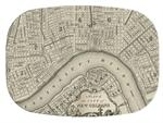 GB1589-Antique New Orleans Map  Personalized Glass Cutting Board