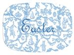 GB1761-Blue Easter Toile  Personalized Glass Cutting Board