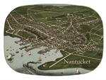 GB1769-Nantucket Town Antique Map  Personalized Glass Cutting Board