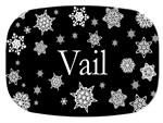 GB2524 - Paper Snowflake Black  Personalized Glass Cutting Board
