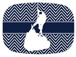 GB2817-Bl- Block Island on Navy Chevron Personalized Glass Cutting Board