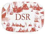 GB857-Red Boat Toile Personalized Glass Cutting Board