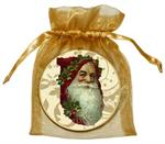 O2530-Santa Face on Creme and Gold Damask Ornament