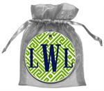 O2678 - Lime & White Fret Monogrammed Ornament