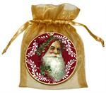 O405-Santa Face on Red Provencial Ornament