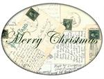 PW2650 - Christmas Postcards Oval Paperweight