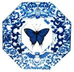 P1128 Black & Blue Butterfly #15  Decoupage Plate